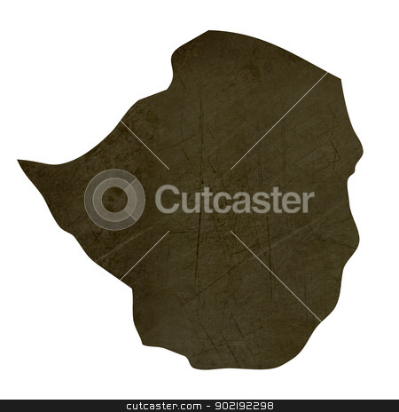Dark silhouetted map of Zimbabwe stock photo, Dark silhouetted and textured map of Zimbabwe isolated on white background. by Martin Crowdy