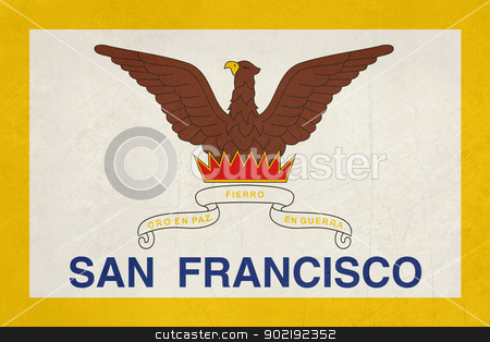 Grunge city of San Francisco flag stock photo, Illustration of City of San Francisco flag, California, U.S.A. by Martin Crowdy