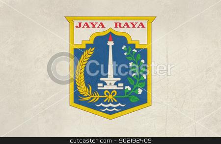 Jakarta city flag stock photo, Grunge illustration of Jakarta city flag, Indonesia. by Martin Crowdy