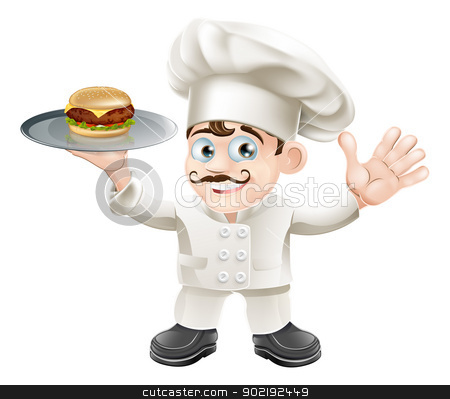 Cheeseburger chef stock vector clipart, A happy cute chef standing holding a cheeseburger in a plate by Christos Georghiou