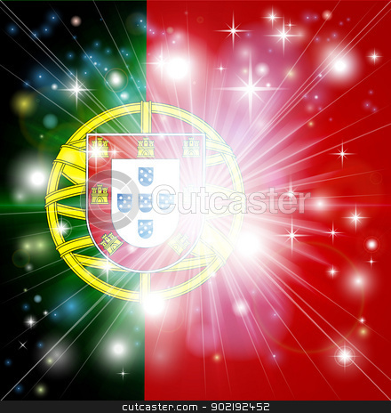 Portuguese flag background stock vector clipart, Flag of Portugal background with pyrotechnic or light burst and copy space in the centre by Christos Georghiou