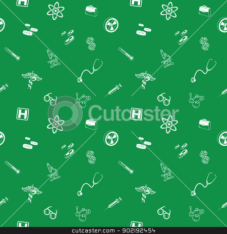 Seamless medical and science background texture stock vector clipart, A repeating seamless medical and science background tile texture with lots of different medical and science icons by Christos Georghiou