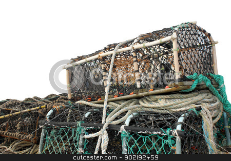 Lobster pots and creels stock photo, Lobster pots and creels isolated on white background with copy space. by Martin Crowdy