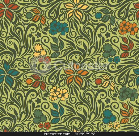 Decorative floral retro seamless background stock vector clipart, Decorative floral seamless pattern on the olive background with flowers and leaves by Allaya
