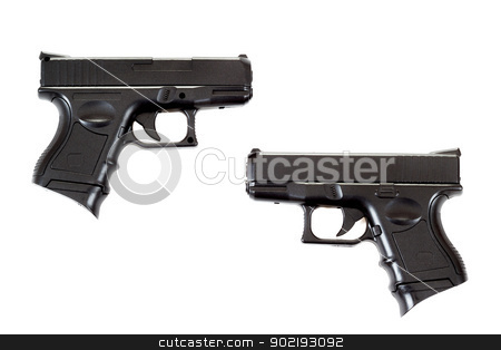 two Black airsoft guns stock photo, Black airsoft guns isolated on white background  by Artush