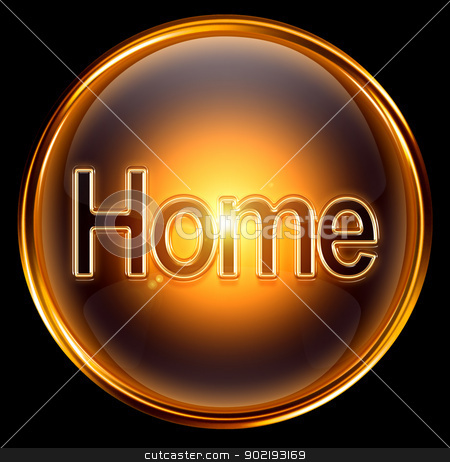 Home icon gold, isolated on black background. stock photo, Home icon gold, isolated on black background. by Andrey Zyk