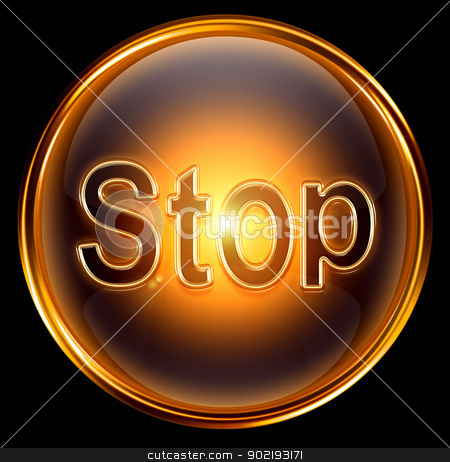 Stop icon gold, isolated on black background stock photo, Stop icon gold, isolated on black background by Andrey Zyk
