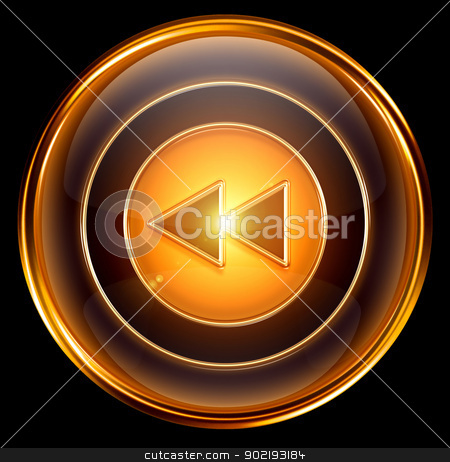 Rewind Back icon gold, isolated on black background stock photo, Rewind Back icon gold, isolated on black background by Andrey Zyk