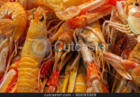 seafood cooked stock photo, seafood - Red Crawfish shrimp is displayed in supermarket  by Vladyslav Danilin