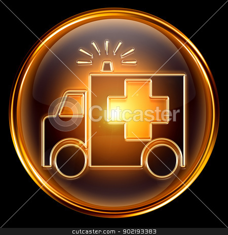 First aid icon golden, isolated on black background. stock photo, First aid icon golden, isolated on black background. by Andrey Zyk