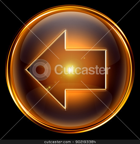 Arrow left icon golden. stock photo, Arrow left icon golden, isolated on black background by Andrey Zyk