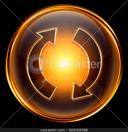 refresh icon golden. stock photo, refresh icon golden, isolated on black background by Andrey Zyk