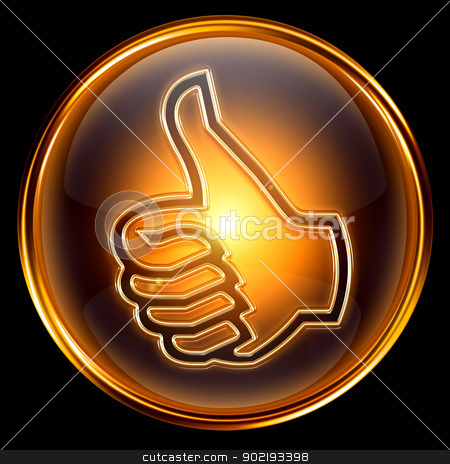 thumb up icon golden, isolated on black background stock photo, thumb up icon golden, isolated on black background by Andrey Zyk