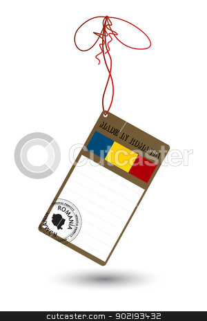 Romanian product price tag stock vector clipart, Price tag with Romanian flag and stamp on white by Richard Laschon