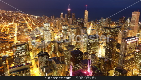 Downtown  stock photo, View to Downtown Chicago / USA from high above at twilight by Achim Baque