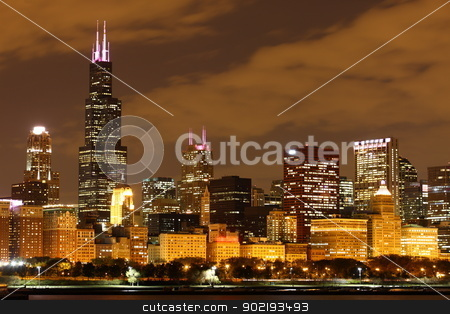 Chicago  stock photo, View to Downtown Chicago / USA from Adler Planetarium by Achim Baque
