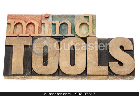 mind tools in wood typre stock photo, mind tools - isolated words in vintage letterpress wood type blocks by Marek Uliasz