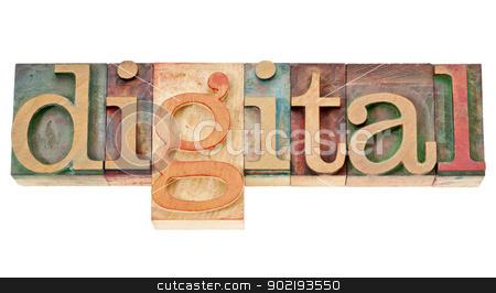 digital word in wood type stock photo, digital - isolated word in vintage letterpress wood type blocks by Marek Uliasz