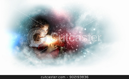Happy girl opening gift box stock photo, A cute young girl holding a christmas gift, dark background with christmas light bokeh by Sergey Nivens