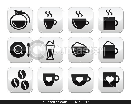Coffee buttons set - vector stock vector clipart, Black coffee modern buttons - coffee beans, mug, cup, types of coffee by Agnieszka Bernacka