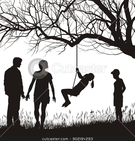 Family in the garden stock vector clipart, vector illustration Family in autumn nature by Čerešňák