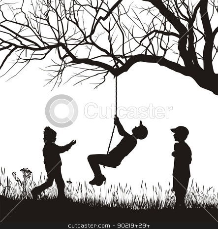 Kids in the garden stock vector clipart, illustration three children playing in nature by Vladim?