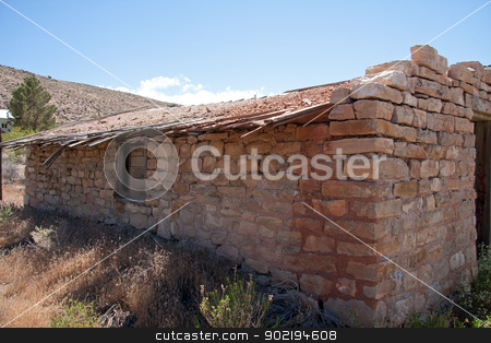 old brick house stock photo, old brick house in nevada ghost town of goodsprings by Gunter Nezhoda