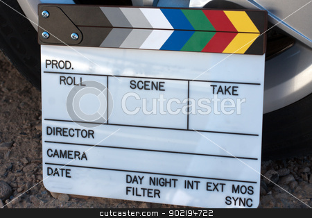 movie clap board stock photo, Film movie production clapboard for slate, empty by Gunter Nezhoda