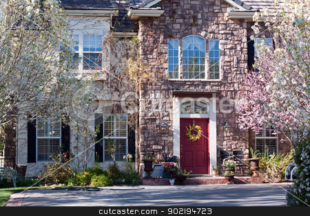 Front of mansion stock photo, Home, luxurious mansion with blooming landscape and beautiful windows by Gunter Nezhoda