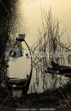 river and boat  stock photo, river and boat in the rustic city by sweetcrisis