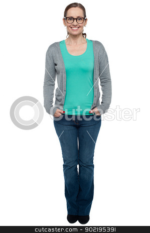 Woman in fashion clothing over white background stock photo, Woman in fashion clothing over white background. Full length portrait. by Ishay Botbol