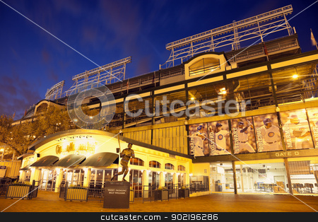 Wrigley Field  stock photo, Chicago, Illinois, USA - March 31, 2012 Wrigley Field in Chicago, Illinois. Wrigley Field is a baseball stadium and home to Chicago Cubs. The stadium was opened in 1914 and can seat 42000 people. Seen during the sunset from the southeast corner. by Henryk Sadura