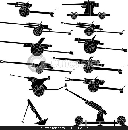 artillery stock vector clipart, Layered vector illustration of various artillery. by Liu Yin