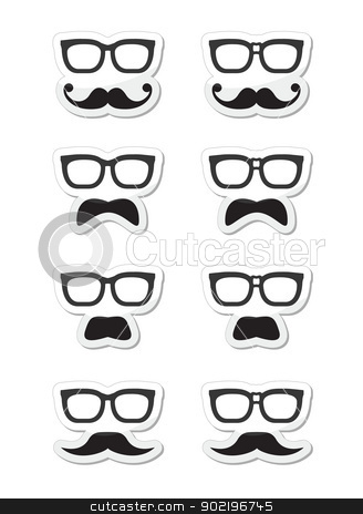 Geek glasses and moustache or mustache vector labels stock vector clipart, Funny mask - glasses with plaster and moustache icons set by Agnieszka Bernacka