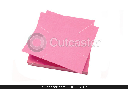 Red memo paper stock photo, Red memo paper isolated on white background  by Ingvar Bjork