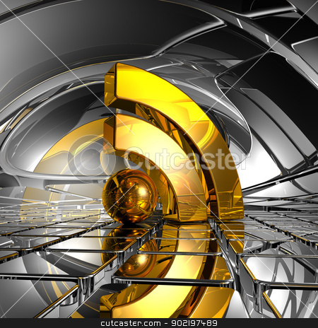 rss symbol stock photo, rss symbol in abstract space - 3d illustration by J?