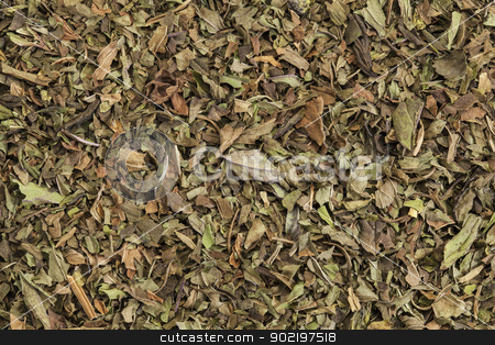 peppermint tea stock photo, background texture of organic loose leaf peppermint tea by Marek Uliasz