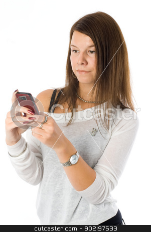 Pretty woman talking by mobile phone stock photo, Beautiful girl talking on phone isolated on white by Aikon
