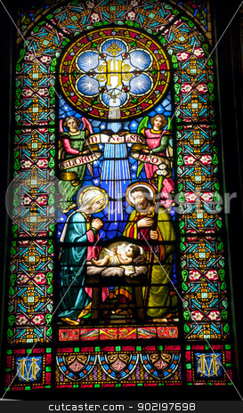Stained Glass Nativity Baby Jesus Mary Joseph Monestir Monastery stock photo, Stained Glass Nativity Baby Jesus Mary Joseph Monestir Monastery of Montserrat, Barcelona, Catalonia, Spain.  Founded in the 9th Century, destroyed in 1811 when French invaded Spain. Rebuilt in 1844 and now a Benedictine Monastery.  Placa de Santa Maria by William Perry