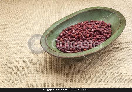 adzuki beans stock photo, Japanese adzuki (aduki, azuki) beans in a rustic wood bowl against burlap canvas by Marek Uliasz