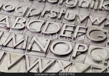 metal alphabet abstract stock photo, alphabet abstract - vintage metal letterpress printing blocks by Marek Uliasz
