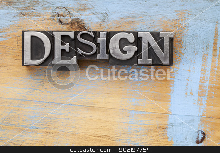design word in metal type stock photo, design word in vintage letterpress metal type blocks on wood surface with grunge blue paint by Marek Uliasz