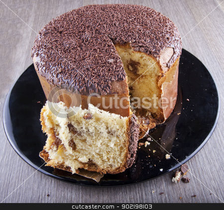 Panettone stock photo, Panettone, typical italian sweet food, with chocolate by Fabio Alcini