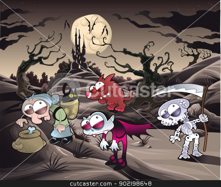 Horror landscape with characters. stock vector clipart, Horror landscape with characters. Cartoon and vector illustration. by ddraw