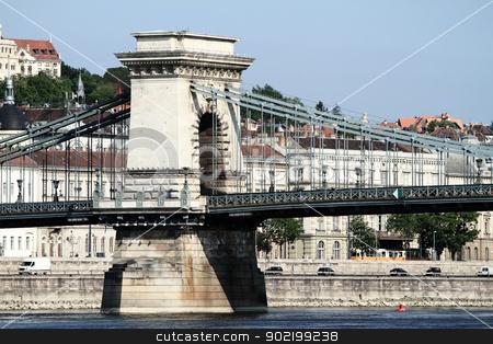 Szechenyi Chain Bridge stock photo, Szechenyi Chain Bridge, Budapest, Hungary by Nneirda