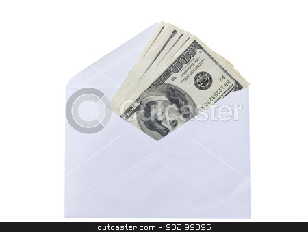 money in envelope stock photo, money in envelope isolated on white by Vitaliy Pakhnyushchyy
