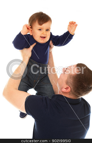 Father and son playing isolated stock photo, Father and son playing isolated over white background by yekostock