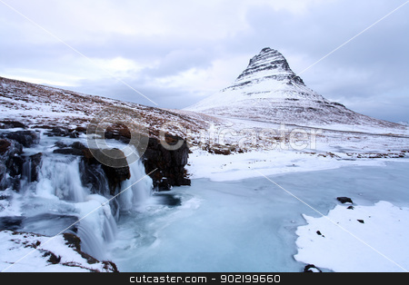 Grundarfjorour famous mountain iceland stock photo, Icelands snaefellsnes peninsula and famous Kirkjufellsfos  waterfall and mount Kirkjufell by Ollie Taylor