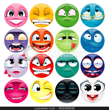 Group of expression. stock vector clipart, Group of expression. Funny vector and cartoon isolated elements. by ddraw