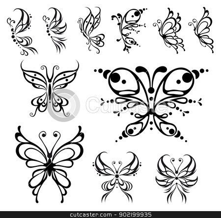 Butterfly tattoo. stock vector clipart, Butterfly tattoo. Vector Illustration, isolated objects. by ddraw